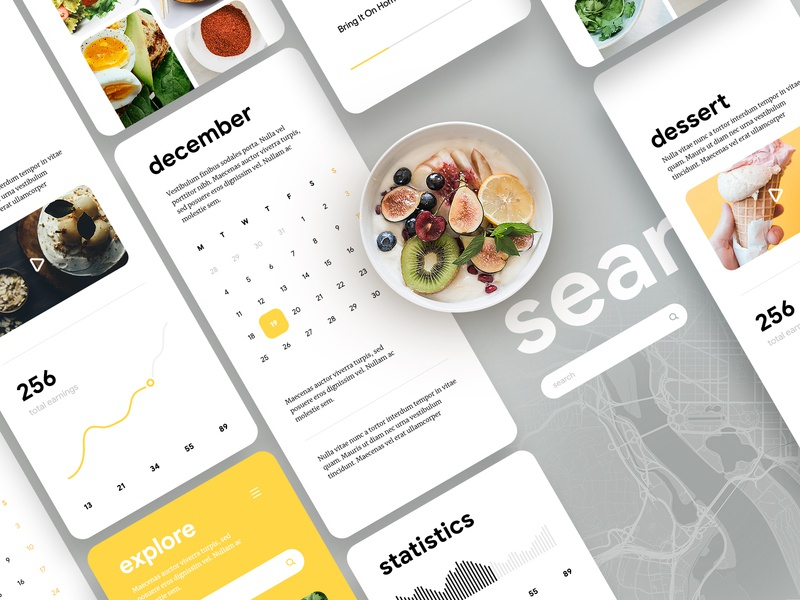 Food app UI Showcase food chart map dashboard calendar ux ui interface design material minimal