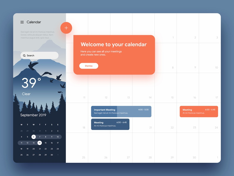 Calendar meeting scheduler weather ux ui calendar