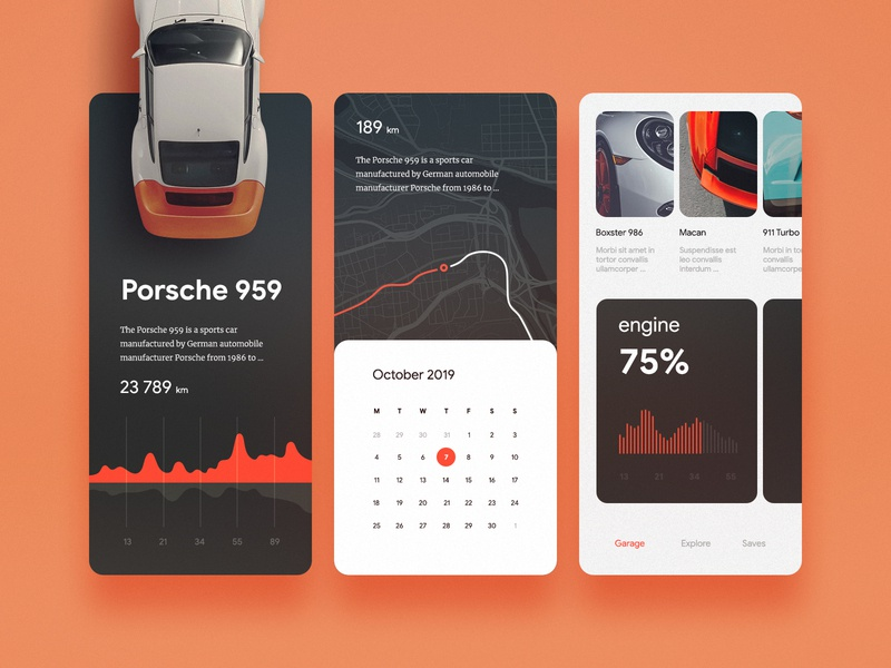 Car Dashboard UI porsche dashboard garage vehicle car app interface mobile ux ui