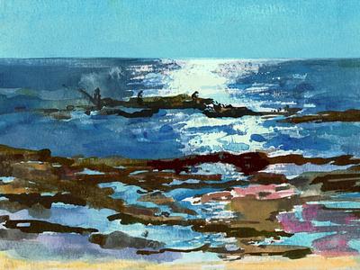 Pescadores en la playa pescadores playa acuarela