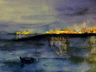 Vista de Cádiz de noche mar noche acuarela