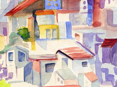 Pueblo andalúz ilustración casas pueblo acuarela