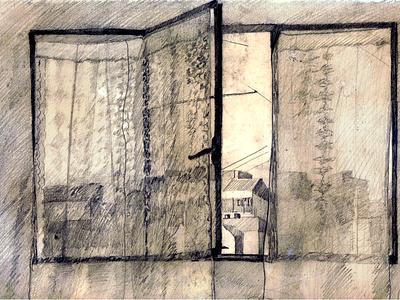 A través de la ventana grafito dibujo ilustración