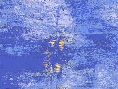 Luces en el mar noche mar dibujo acuarela