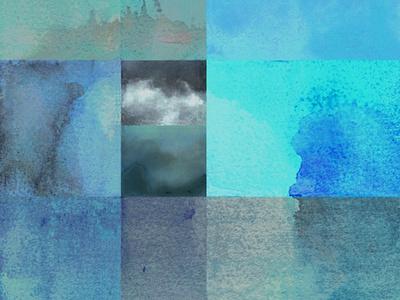 Retazos de cielo después de la lluvia azules abstracto acuarela