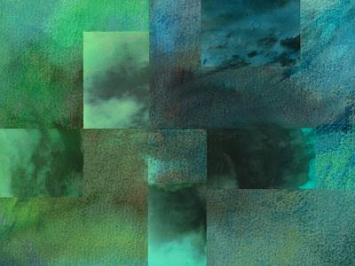 Retazos de cielo. Tormenta verdes abstracto acuarela