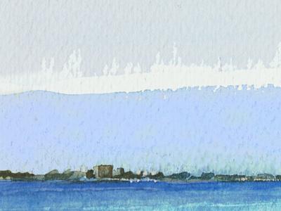 Bahía de Cádiz por la mañana mar acuarela