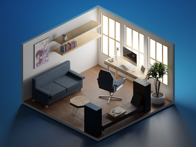 Home Office workfromhome home office wfh polygon runnway lowpoly illustration lowpolyart low poly blender 3d