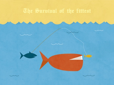 The Survival of the fittest illustration fish whale ocean blue