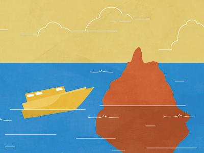 Iceberg boat ship iceberg illustration ocean blue