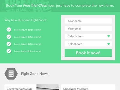 Book Trial Class ui form flat green gym book
