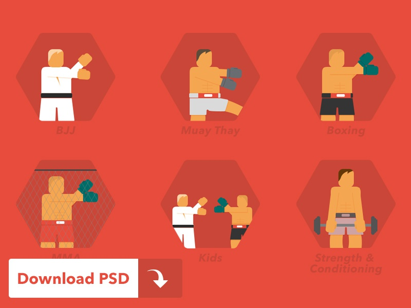Martial Arts Icons (Free PSD) icon flat martial arts free freebie mms boxing bjj muay thay