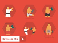 Martial Arts Icons (Free PSD)