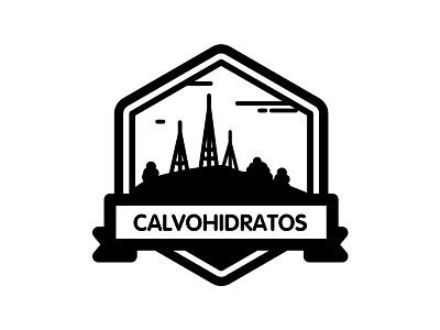 """Calvohidratos"" running team runner design brand icon black patch logo design logo"