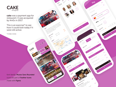 CAKE reimagined app design design bookings payment restaurant hospitality mobile app ui