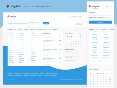 Craigslist - Home redesign lists search craigslist blue web design ui