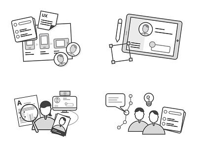 Tech tags icons icons tech ui ux mentorship london black illustration icon