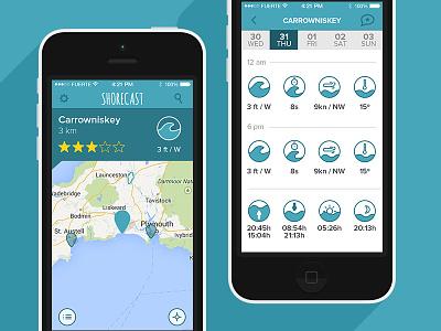 ShoreCast Surf app ios iphone surf blie icons