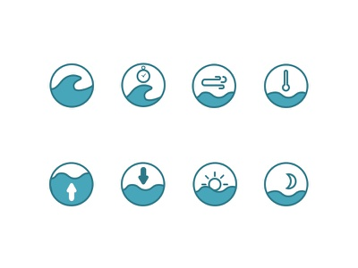 ShoreCast Info icons surf icon ios blue swell wind tide