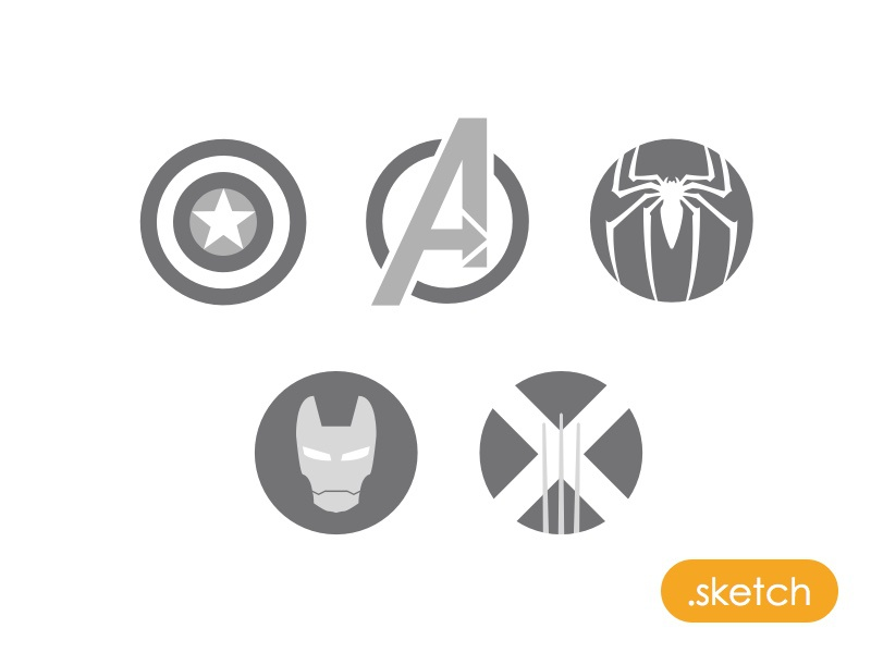 Marvel Icons - Sketch file icon sketch app sketch freebie superhero free marvel avengers captain america spider man