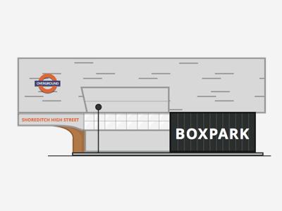 Shoreditch/Boxpark London metro underground city web london icon illustration