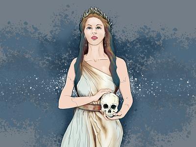 Queen of Death woman death queen art digital illustration artist illustration