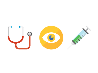 Health Icons badges flat health icons illustration doctor wellness stethoscope eye syringe vaccination vision