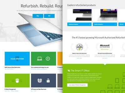 Homepage concept for Refurbished Computer Shop