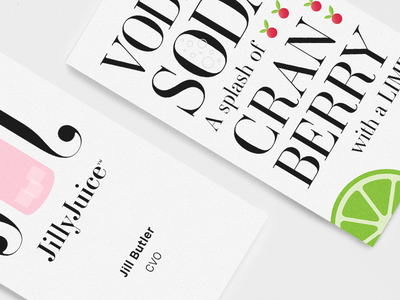JillyJuice Cards business cards cards print typography alcohol cocktail feminine vodka lime cranberry ambroise branding
