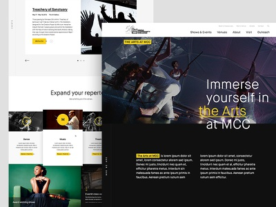 The Arts at MCC Website Art Direction contemporary homepage art direction events music dance art website web design