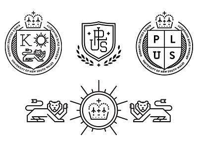 Badge/Crest Logo Options alliance monogram education lion griffin crown stroke logo coat of arms shield crest badge