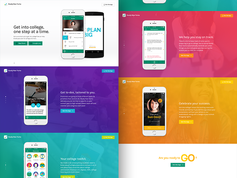 Ready Now Yuma marketing page features product design ux ui colorful responsive mobile landing page app marketing