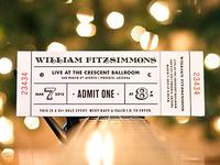 William Fitzsimmons Concert Ticket