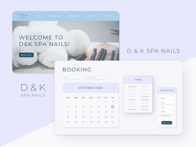 D&K Spa Nails | Website calendar home page user interface website design schedule booking nail salon website web ui typography minimal logo graphic design flat design branding