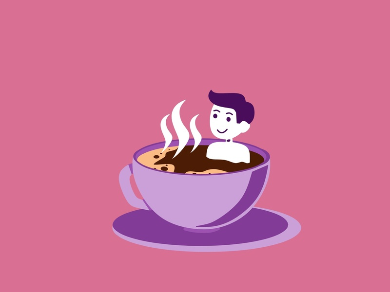 man showering cup of coffee website ui branding graphic design vector flat illustration flat design illustrator illustration flat