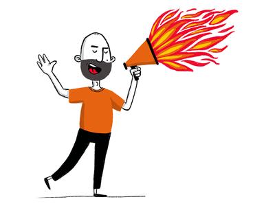 A great designer communicates well designer fire megaphone communication procreate ux ui illustration design