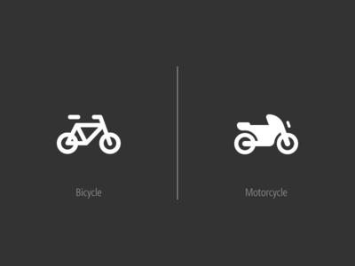 2 Icons in 2 wheels tomtom glyphs glyph bicycle motorcycle bike icon vector logo designer ux ui illustration design