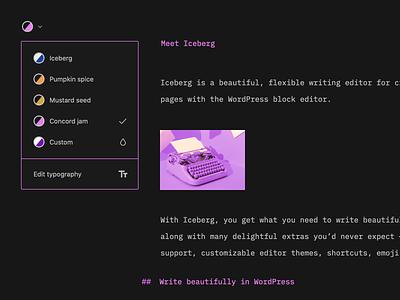 Iceberg: Theming writing app writing editor colorpalette colors clean wordpress minimal ux ui
