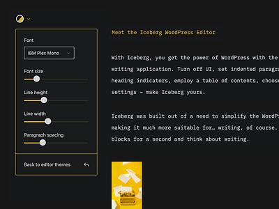 Iceberg: Typography clean colors minimal blocks editor wordpress gutenberg ui design ux ui