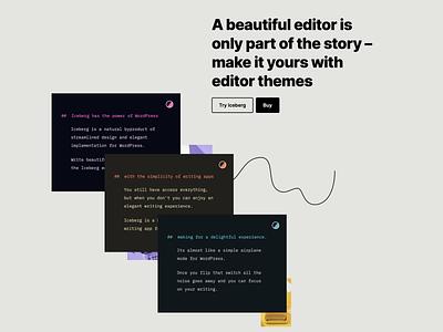 Iceberg: Website > Editor themes call to action features landing page branding design tabor gutenberg illustration minimal wordprses website