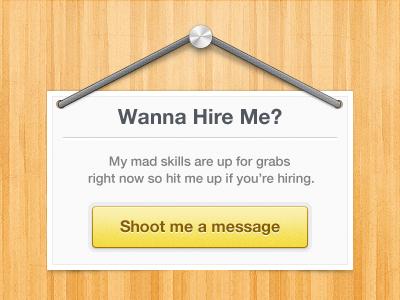Wanna Hire Me? freebie psd hire message button sign