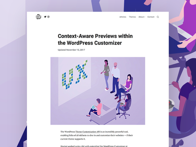 Context-Aware Previews within the WordPress Customizer wordpress themebeans theme tabor design clean bold blog
