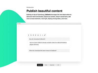 CoBlocks: Publish beautiful content plugin gutenberg gradient modern clean feature landing slider freeform website wordpress coblocks
