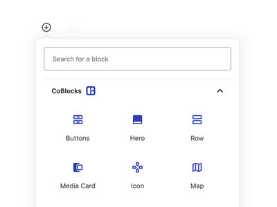 CoBlocks Block Inserter UI clean design minimal search modal material icon gutenberg react ui wordpress block coblocks