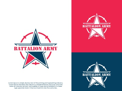 Battalion Army - Military - Defense - Logo Design. modern minimalist logo warriors soldiers shield navy military force defense chevron army vector illustration graphic design flat design creative branding 3d