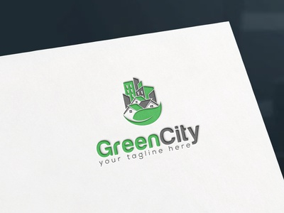 Green City - Logo Design sunset sky scape real estate leaf city nature logo design investment green city house construction architecture motion graphics animation vector illustration graphic design flat creative branding 3d