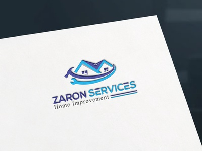 Zaron Service - Logo Design. motion graphics animation house new home real estate renewable logo design keeping improvement house care home services construction cleaning 3d vector illustration graphic design flat creative branding