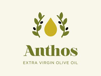ANTHOS EXTRA VIRGIN OLIVE OIL olive olive oil extra virgin olive oil oil packaging branding logo design logotype logo greece