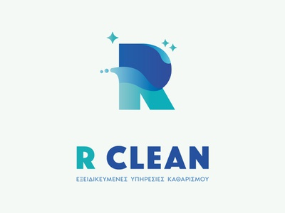 R Clean logo cleaning services cleaning service cleaning company clean vector design logo design logotype logo greece