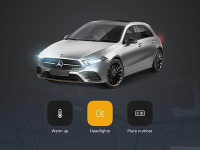 Car rent assist iOS UI kit remote security iphone apple mercedes ux ui private rent car ui kit ios